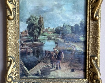 "Small Vintage Framed Constable Print in Rich Ornate Gilded Frame with a Bonus Second  Print. ""Flatford Mill"" and ""Cornfield"" ROP0118/1/2"