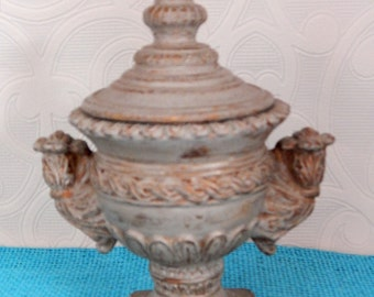 Farmhouse Chic Urn Container Jar with Top French Country Chic Rustic Beauty