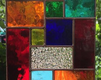Multi Colour Copper Abstract Stained Glass Suncatcher Panel Handmade Garden Home Decor Art Gift - designsinglass - CRhodesGlassArt