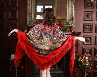 Woolen shawl - Authentic russian shawl scarf  100% wool wrap scarf very large