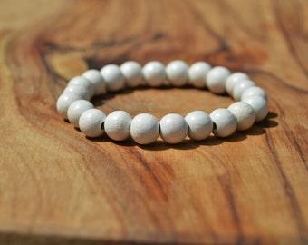 Snow White Wood - 8mm Wooden Bead Bracelet
