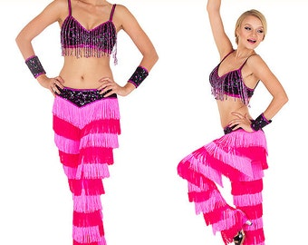 Fringe pants costume, Salsa fringe pants, Latin dance costume, Yulia fringe pants