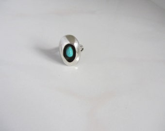 Large Navajo Style Sterling Silver Shadow Box Ring with Turquoise Stone Center Size 7