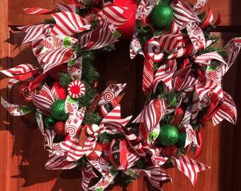 FREE SHIPPING, Christmas Candy Ribbon Wreath, Christmas Wreath, Holiday Wreath