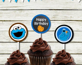 Cupcake toppers  (Cookie Monster inspired) (DIGITAL FILE ONLY)