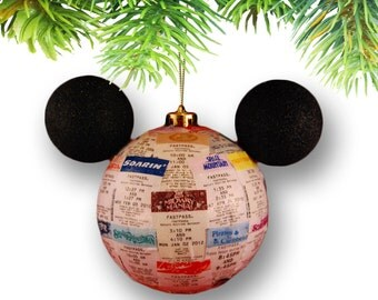 Large Mickey-shaped Theme Park Fastpass Ornament