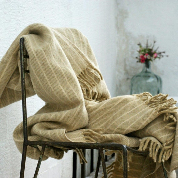 Items Similar To Cream Striped Wool Blanket Fallow Wool
