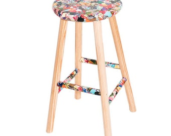 Unique Decoupaged wooden stool