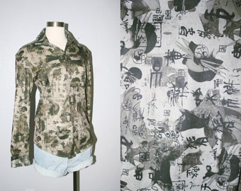 90s Collage Chinese Grunge Long Sleeved Collared Button Up Shirt / Vaporwave Club Kid Asian Print Tumblr Goth