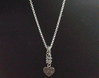 silver plated chain with love and friends charms