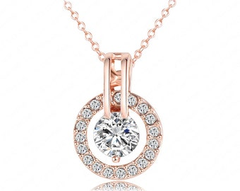 Jewelry Necklace Crystal Austrian 18k Rose Gold Plated