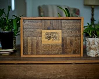 SALE! Vintage Wood Armadillo Etching Wall Hanging