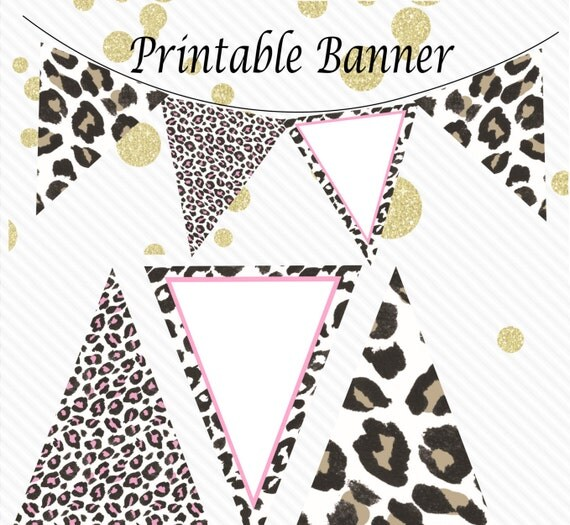 Leopard Print Baby Shower Supplies: Safari Baby Shower Banner- Jungle Baby Shower Decor- Pink