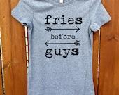 women shirt,women clothing,fashion shirt, shirt,grey, women tank,women top,workout shirt,fries before guys,workout shirt