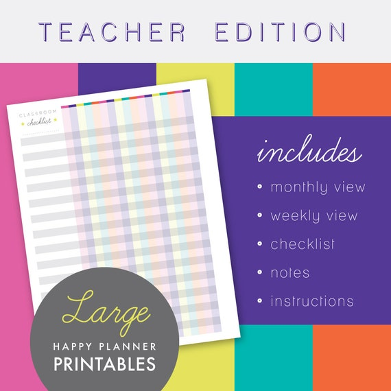 Printables : Teacher Edition Large Happy Planner Undated