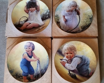Complete Set of 4 'Playful Memories' Porcelain Collector Plates, Sue Etem