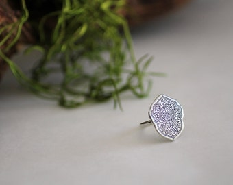 Moroccan ring - Morocco ring - Etched sterling silver ring