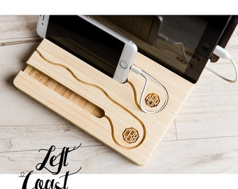 Charging Dock Gift iPhone iPad Tablet White Wood Stand Stuffer Android Mens Moms Wedding Engagement Personalized Initials