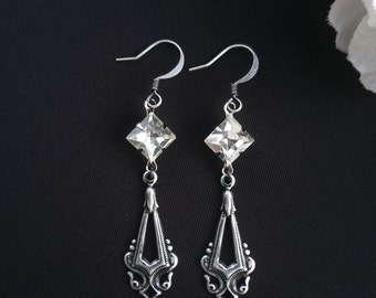 25% OFF Silver Vintage earrings Vintage jewelry Victorian earrings Victorian jewelry Vintage style jewelry Geometric earrings Antique