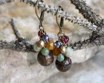 Bronzite leverback hook earrings  Natural stones
