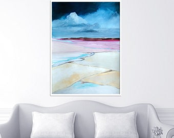 Low tide, original painting on paper, contemporary art. Acrylic and ink. 22x29,9in