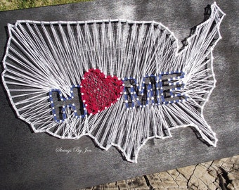 USA Map Wood Sign String Art Love Wall Sign Home Decor Patriotic Decor
