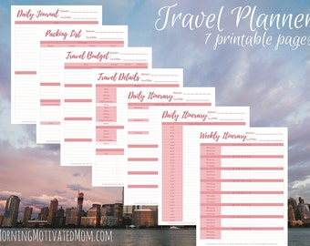 Travel Planner Printable, Vacation Planner, Daily Itinerary, Weekly Itinerary, Travel Diary, Travel Budget  Instant Download