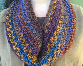 Cowl Scarf - multicolor yarn scarf with rich hues