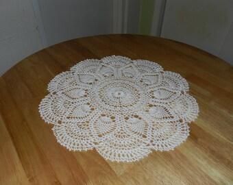 White Crochet Cotton Pineapple Doily