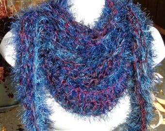 Decorative hand knit fun fur scarf