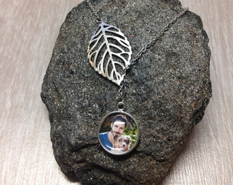 Custom Photo Necklace - Leaf Design - Picture Necklace - Personalized Necklace - Photo Jewelry - Gift - Keepsake - Silver Round Pendant