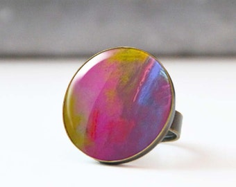 Cabochon ring,  Ring, Photo Ring, Large Statement Ring, Wearable Art, Abstract Original Art, 5003-5