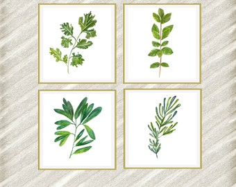 "Watercolor herbs print: ""HERB POSTERS"" Kitchen Wall Decor botanical kitchen prints Kitchen Printable Herbs Kitchen Herb 12x12 set of 4"