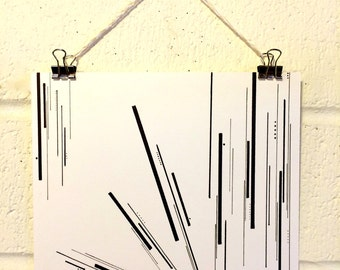 Cattails, black and white, minimalist, artwork, print