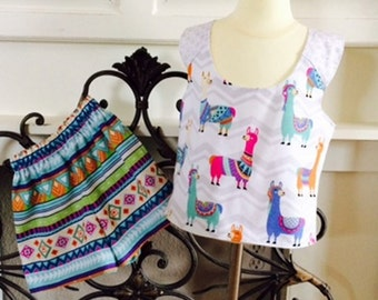 Girls Shorts Outfit / Toddler Cross Back Top and Shorts Set / Size 4