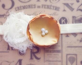 BABY HEADBAND Ivory and Gold flower headband Double flower headband