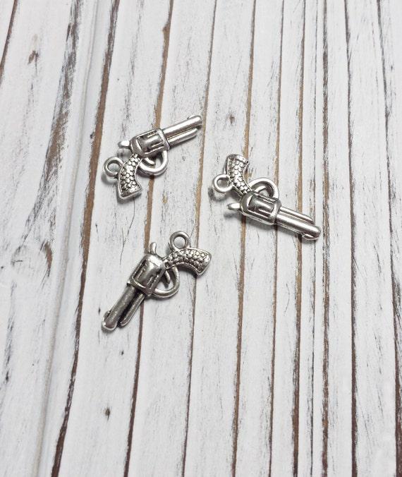 Gun charms small revolver silver lead and