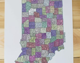 Indiana County Map- Muted Tones
