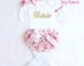 Baby Girl Coming Home Outfit Baby Girl Going Home Outfit Personalized Newborn Outfit Girl Take Home Outfit Name Onesie Baby Shower Gift K22