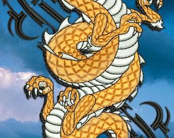 Golden Dragon embroidery design