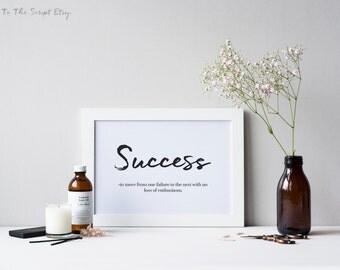 Inspirational Print, Printable Quote, Wall Art, Motivational Quote, Printable Art, Success Definition - No Loss Of Enthusiasm.