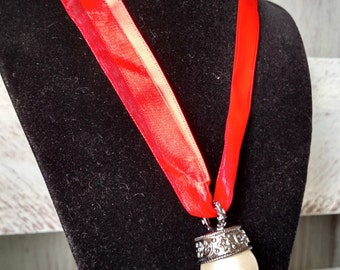 Red Ribbon Necklace with Pearl Pendant