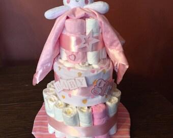 Baby Girl Bunny Diaper Cake