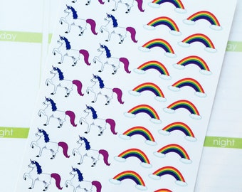 Rainbow Unicorn Planner Stickers