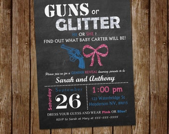 Guns or Glitter Gender Reveal Invitation | Pink or Blue | Boy or Girl | He or She | Printable Invitation | Customizable