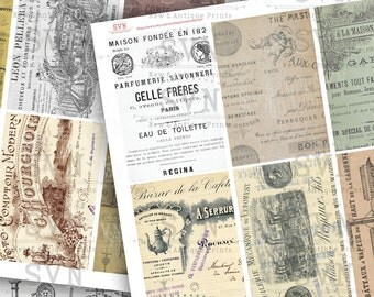 French Ephemera - 18 Printable ATC Cards / ACEO Cards -  Digital Collage Sheet - For Scrapbooking...