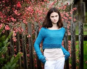 Turquoise cropped sweater, Women's sweater, Knit sweater, Women's fashion, Long sleeves, OOAK sweater,  Elegant wool sweater , Ready to ship