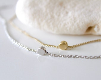 Tiny Gold, Silver Dot Necklaces, Small Dainty, Simple Modern Minimalist, Delicate tiny Coin Necklaces