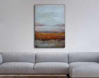 """ABSTRACT LANDSCAPE PAINTING, Acrylic Painting, Modern Art, Title: """"Land by the Sea"""""""