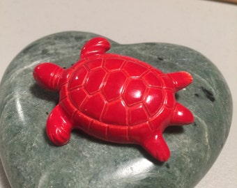 Red Turtle, Plastic Red Turtle Brooch, Turtle Pin